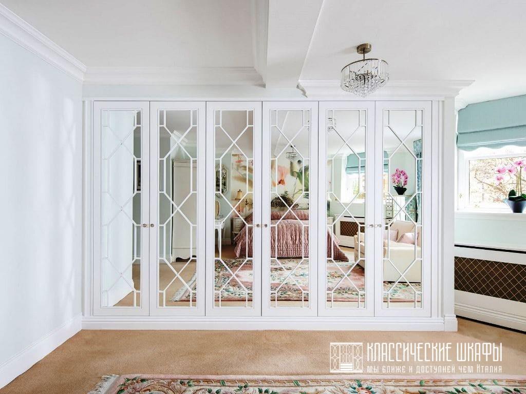 Белый классический шкаф для одежды с зеркалами