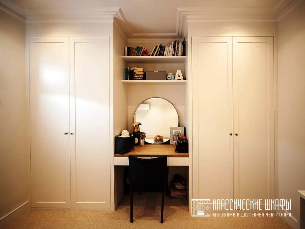 Встраиваемый шкаф на заказ белый классический
