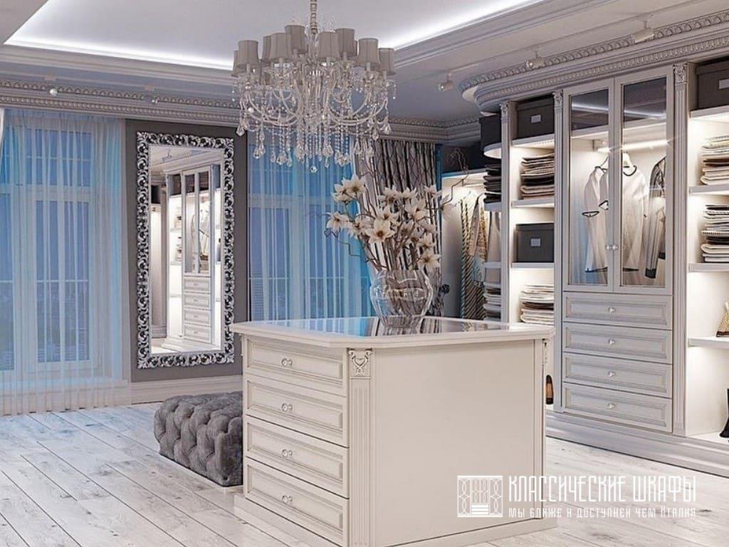 Классические угловые шкафы с островком в гардеробную