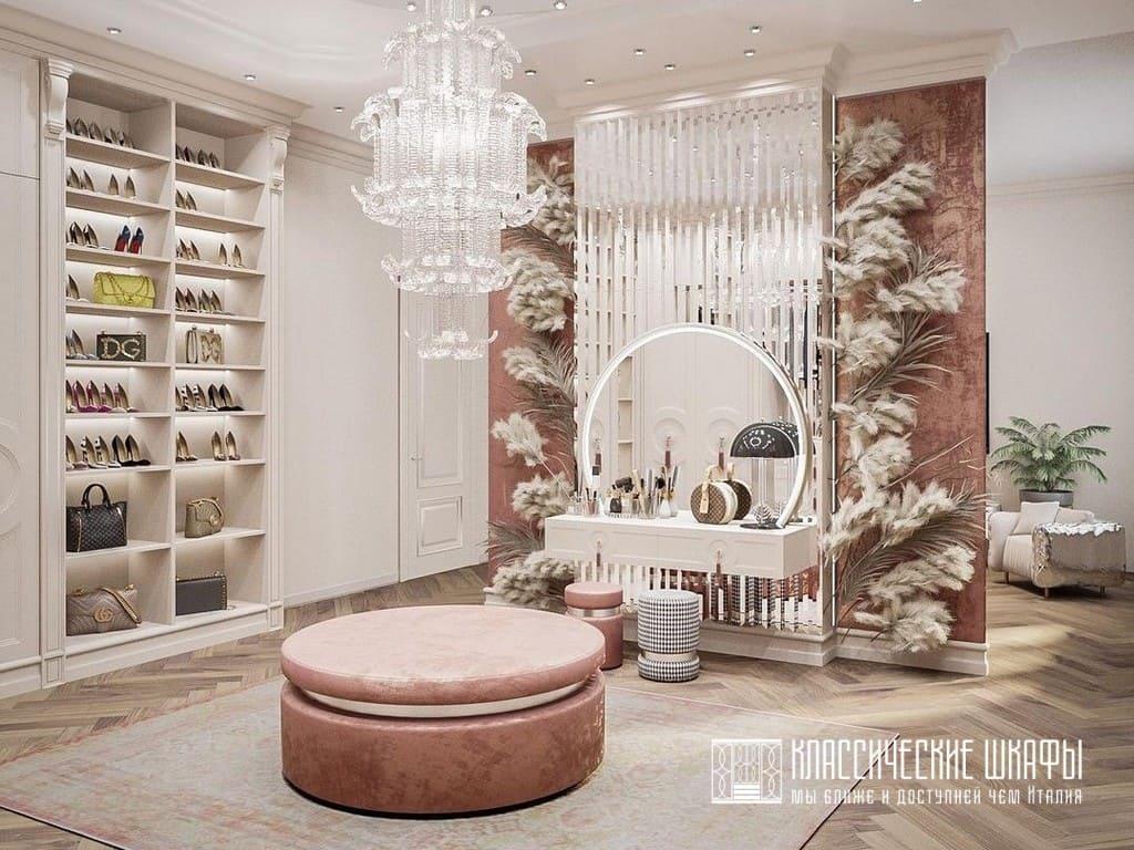 П-образная классическая гардеробная комната