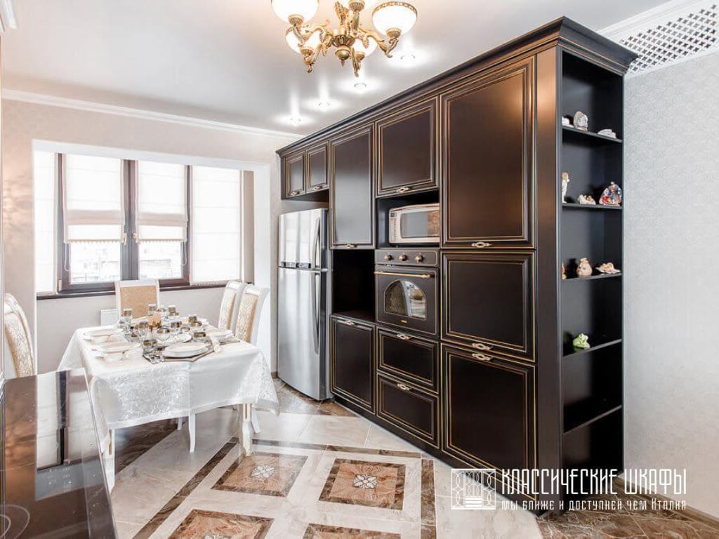Шкаф на кухню в классическом стиле черный